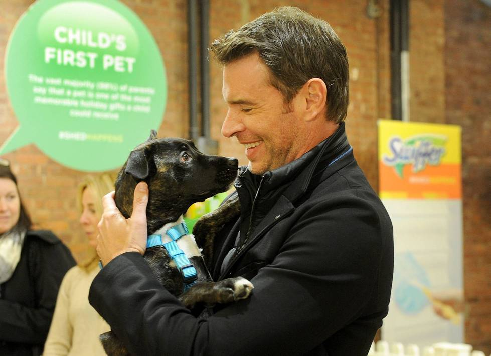 Scott Foley partners with Swiffer to spread the word that cleaning concerns should never be an obstacle to bringing home your child's first pet, Thursday, Nov. 12, 2015, in New York. Foley joined Swiffer and Bark & Co. to provide 10,000 Welcome Home Kits, including free Swiffer products, to shelters nationwide this holiday season.