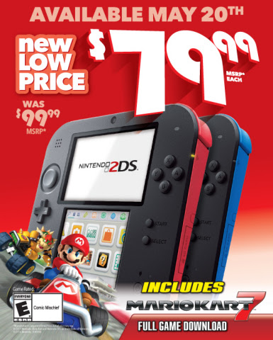 Nintendo 2DS System Drops to New Low Suggested Price of $79.99