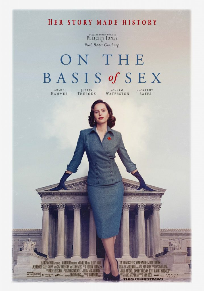 On the Basis of Sextells an inspiring and spirited true story that follows young lawyer Ruth Bader Ginsburg as she teams with her husband Marty to bring a groundbreaking case before the U.S. Court of Appeals and overturn a century of gender discrimination.