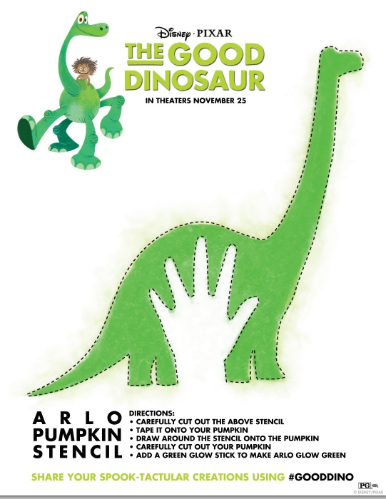 The Good Dinosaur by Disney Pixar Comes to Theaters on Thanksgiving 2015 - Here is a The Good Dinosaur Halloween Stencil