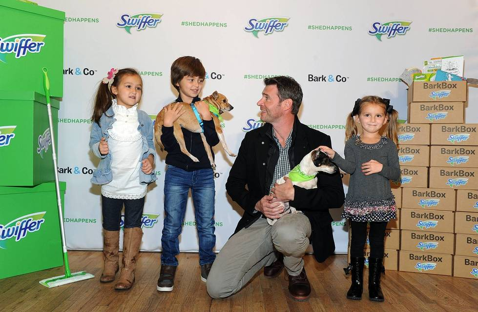 Scott Foley joins Swiffer to celebrate the joy of bringing home your child's first pet, Thursday, Nov. 12, 2015, in New York. Foley serves as Swiffer campaign ambassador to spread the word that cleaning concerns should never be an obstacle to pet adoption.