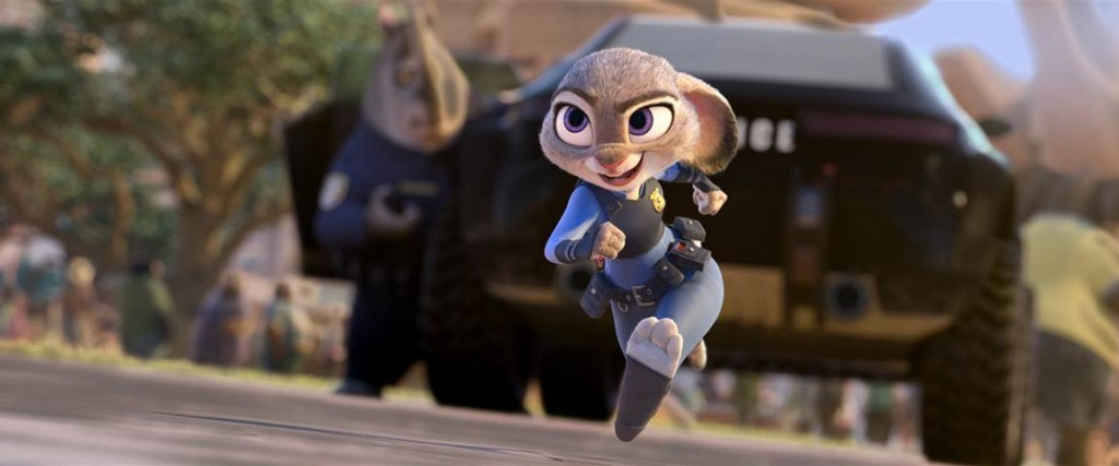 In Zootopia Officer Judy Hopps (voice of Ginnifer Goodwin), the very first bunny on Zootopia's police force, jumps at the opportunity to crack her first case—even if it means partnering with fast-talking, scam-artist fox Nick Wilde (voice of Jason Bateman) to solve the mystery.