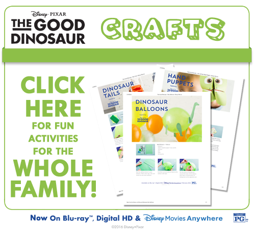 I have some funactivity sheetsfor The Good Dinosaur that I wanted to share with all of you today! In it are fun craft instructions to make dinosaur balloons, hand puppets, and dinosaur tails!
