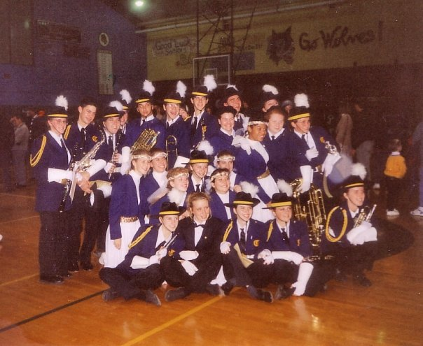 A photo of the seniors in the marching band in my high school