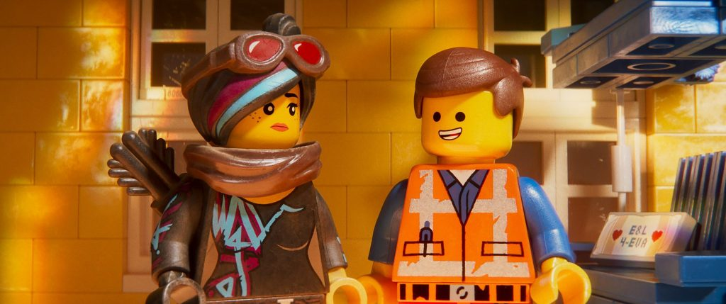 """Returning characters Lucy (ELIZABETH BANKS) and Emmet (CHRIS PRATT) in a scene from the animated adventure sequel """"The LEGO® Movie 2: The Second Part,"""" in theaters February 8, 2019. The film also stars Will Arnett, Nick Offerman, Alison Brie, Tiffany Haddish, Stephanie Beatriz and Arturo Castro. It is directed by Mike Mitchell and produced by Dan Lin, Phil Lord, Christopher Miller and Roy Lee. Courtesy of Warner Bros. Pictures."""