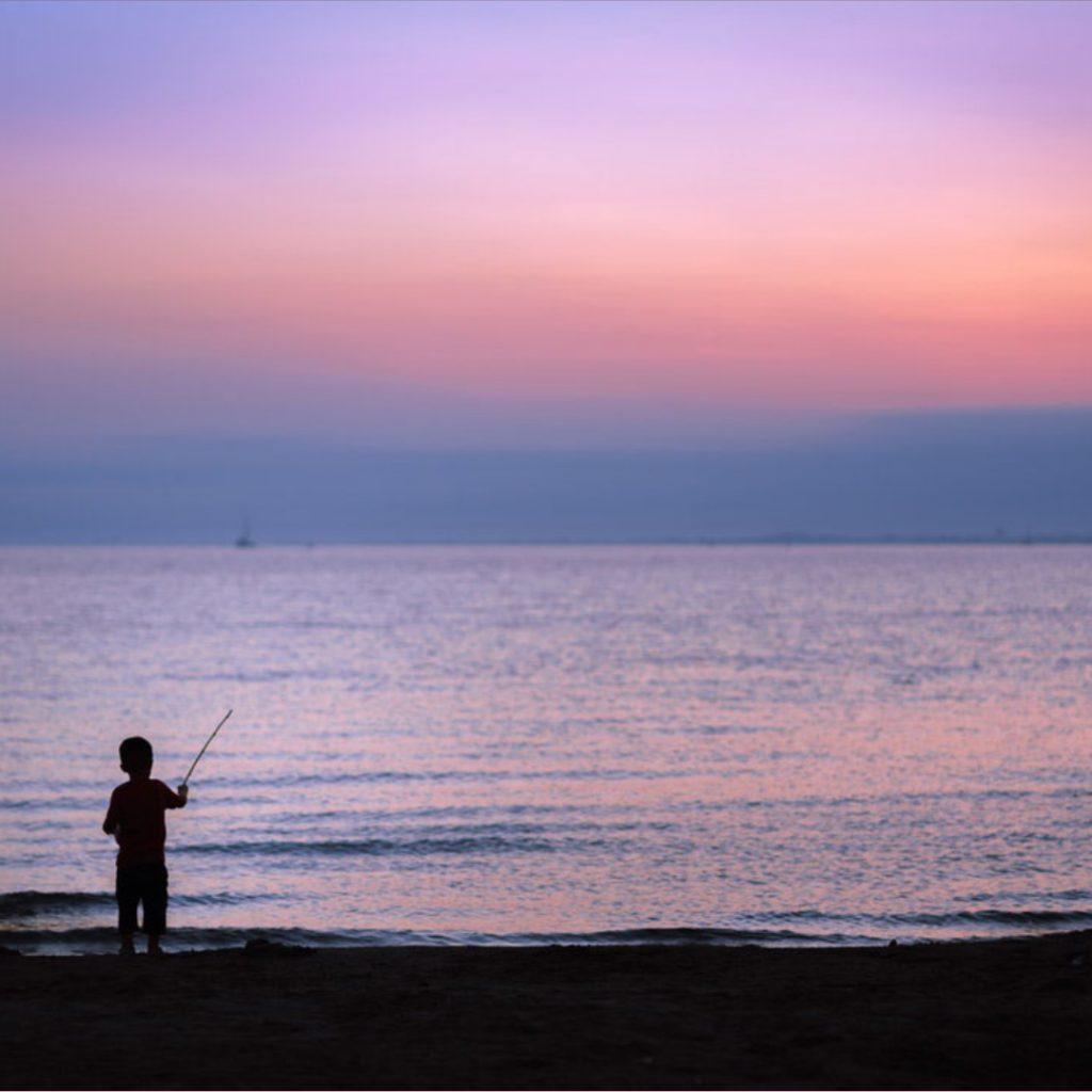 fishing on a beach
